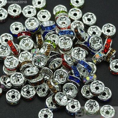 Mixed 100 Czech Crystal Rhinestone Silver Rondelle Spacer Beads 4mm 5mm 6mm 8mm