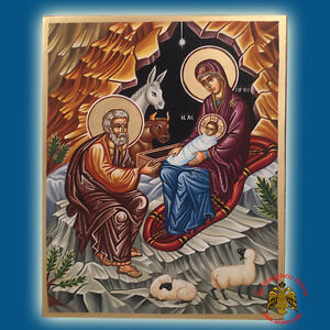 orthodox byzantine nativity of christ painted wooden icon. Black Bedroom Furniture Sets. Home Design Ideas
