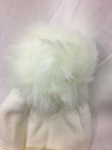 childrens kids girls white winter hat with ties pom pom bobble