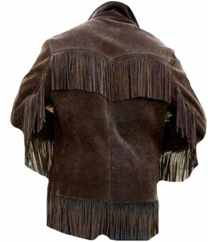 Men/'s Western Cowboy Fringed Coat Suede Jacket Brown