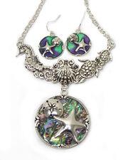 Ocean Sea Life Inspired Starfish Abalone Bib Necklace&Earring  Silvertone