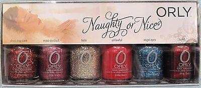 ORLY NAUGHTY NICE 6 Pix GLITTER Nail Polish Set~Devil/Miss/Halo/Angel/Torrid NIB