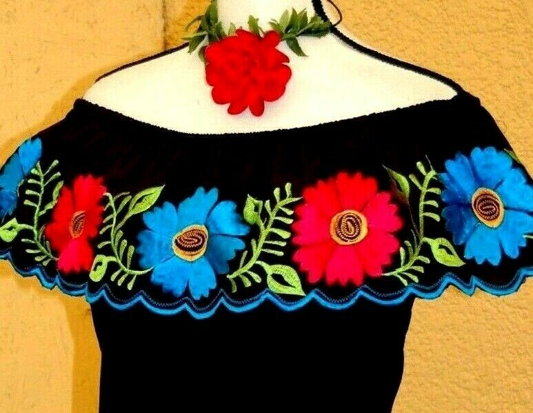 Mexican schwarz Blouse Peasant Off shoulder Embroiderot Big Flower Yucatan S M LXL