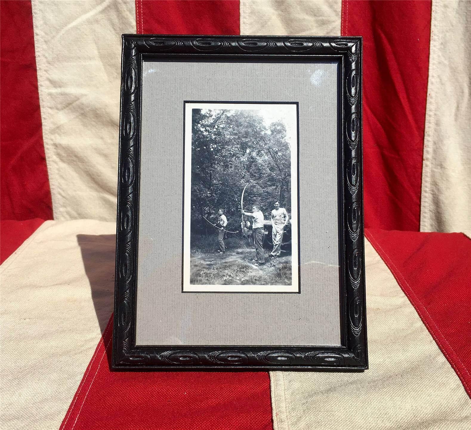 Fotografía Antiguo Vintage 1930s grupo de tiro con arco enmarcado arco y flecha de caza Nice
