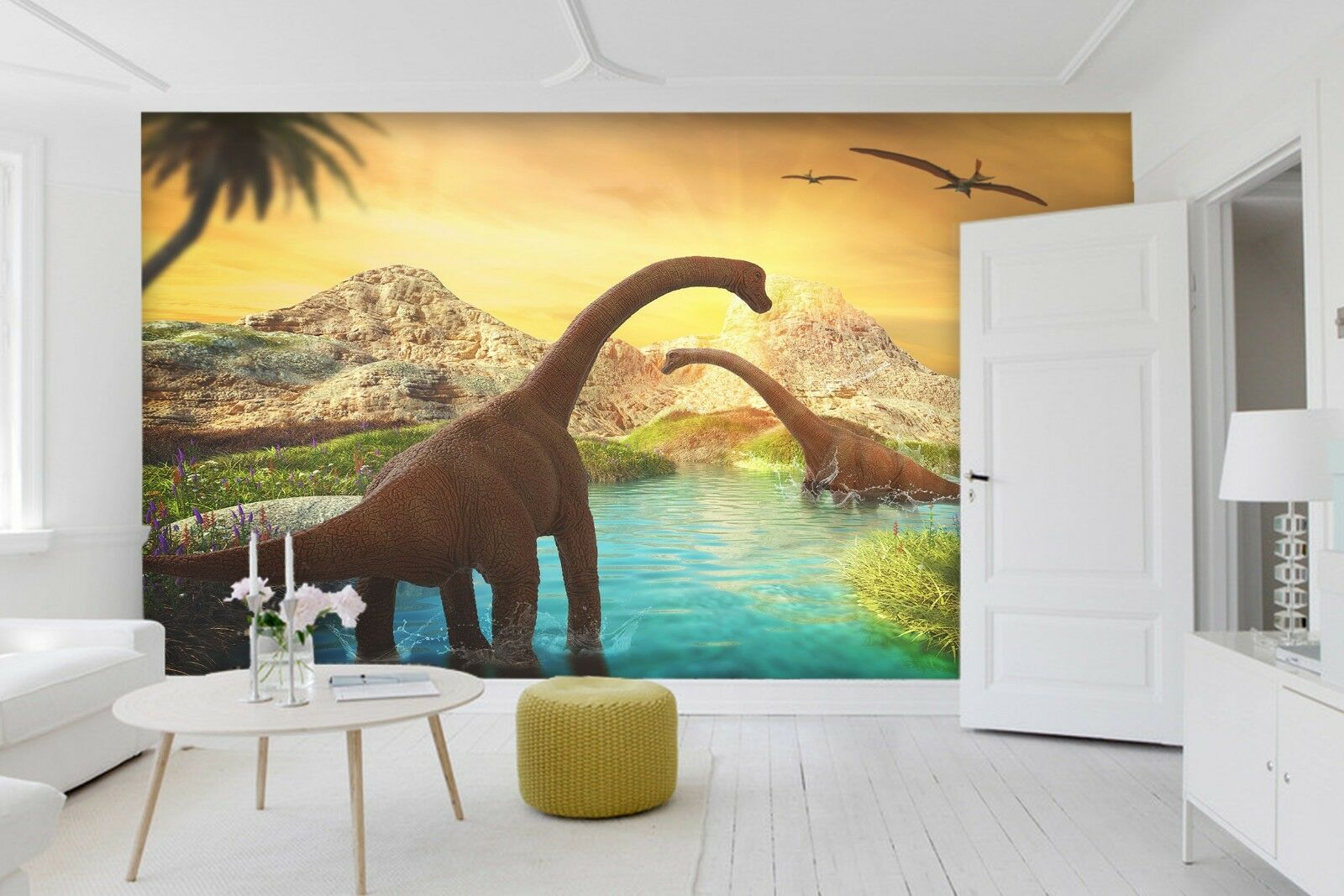 3D Sunset River Dinosaur 3 Wallpaper Mural Print Wall Indoor Wallpaper Murals UK