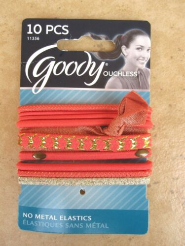 Goody Ouchless  Ribbon Elastic Ponytail Holders 10 Pack Multi-Colored NEW 11356