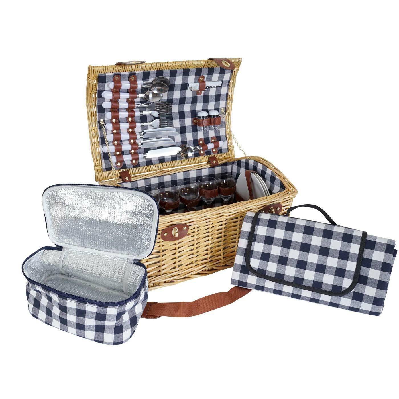 Cesta de picnic-set hwc-b23 para 6 personas, porcelana de vidrio de acero inoxidable, azul-blancoo