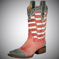Corral Women's In Stock American Flag Leather Square Toe Cowgirl Boots A2850
