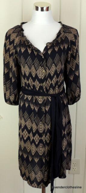 f3367a8b Edme & Esyllte Anthropologie 2 Black & Tan Rayon Button Down Shift Dress