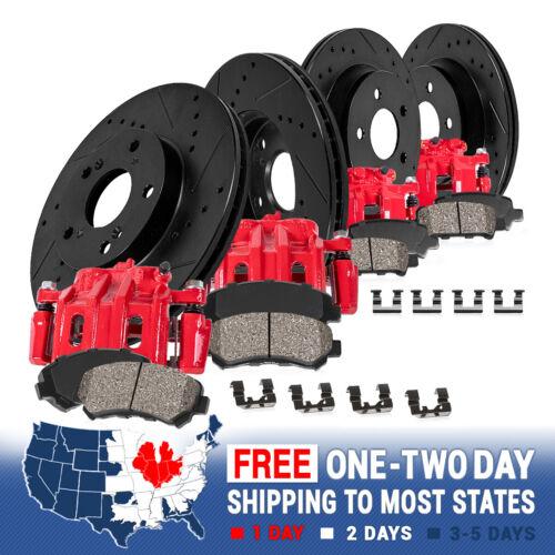 Brake Rotors For Honda Civic Front And Rear Red Brake Calipers Ceramic Pads