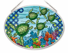"Sea Turtles Sun Catcher AMIA Hand Painted Glass 7"" x 5"" Green Ocean Turtle New"