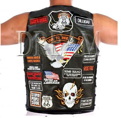 Billiger Preis S-xl Herren Schwarzes Leder Der Schaf-haut Weste Ccw Motorrad Adler Badge Punk