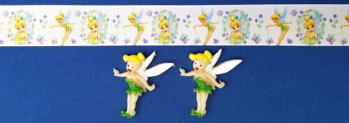 TINKER BELL WHITE Hair Bow Supplies Kit 2 yd Ribbon and 2 Flatback Resins