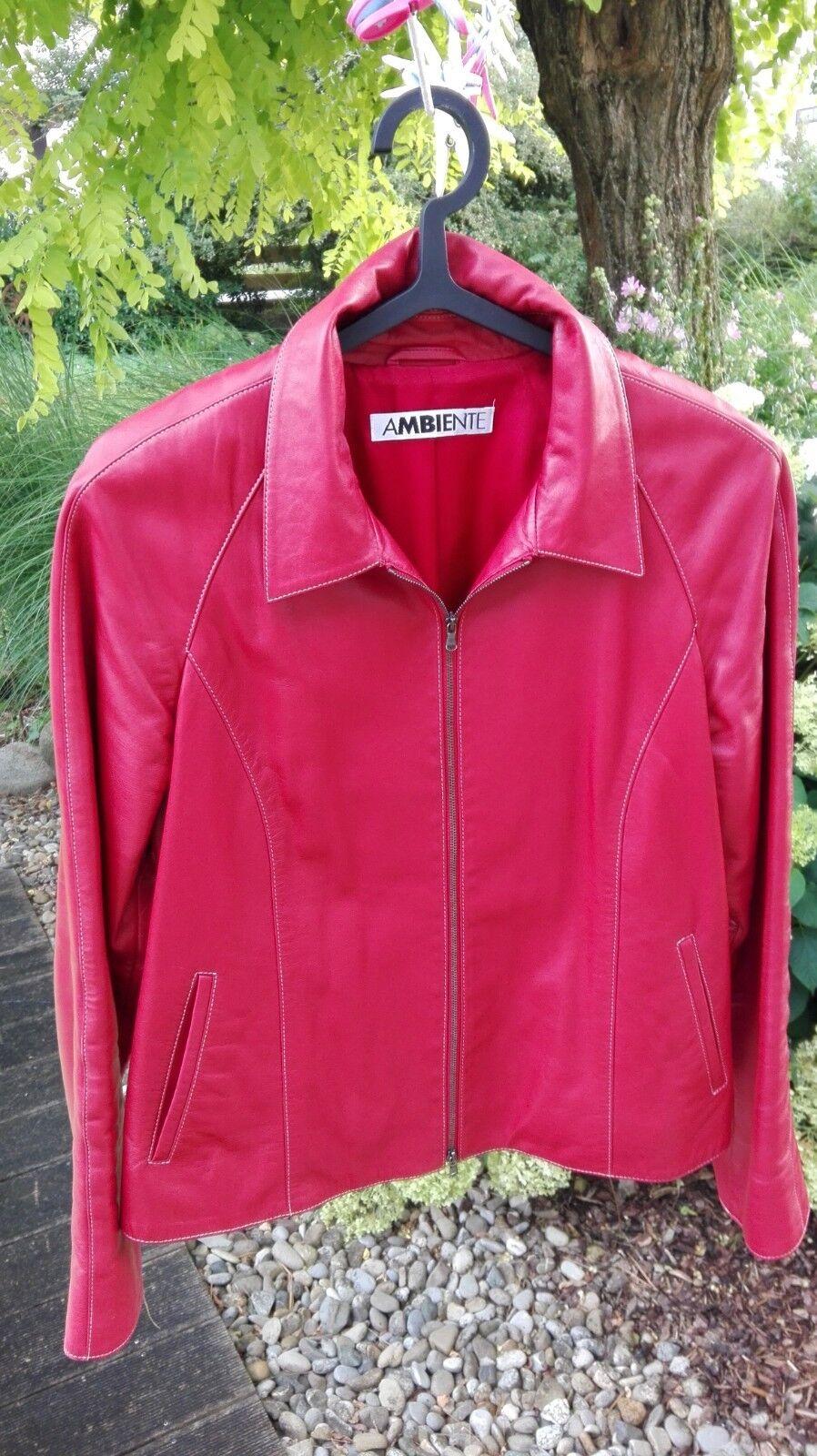 Damen - Lederjacke   Marke Ambiente Größe 42 schönes gedämpftes Rot