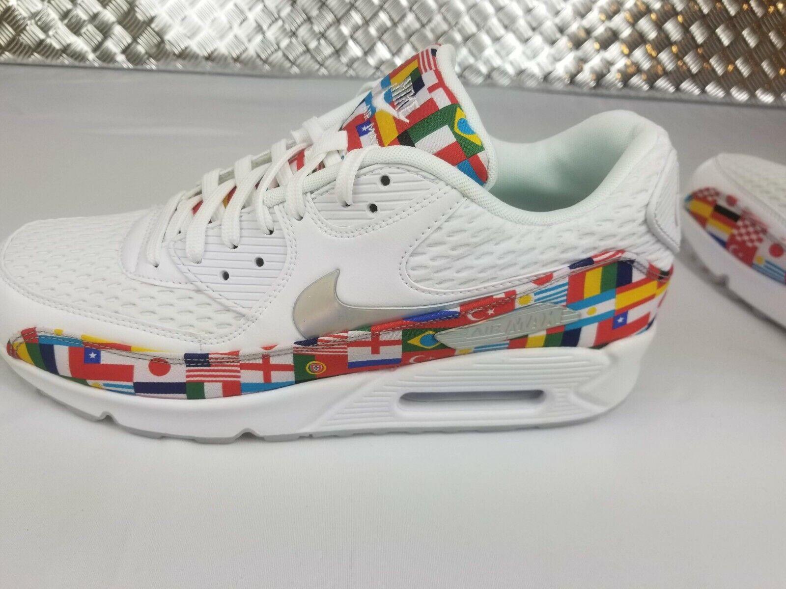 NEW Nike Air Max 90 NIC QS International Flag shoes White Mens Sz 8.5 AO5119-100