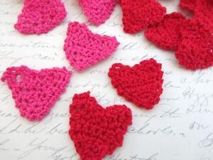 Red hot pink hand crochet cotton valentine heart applique knit