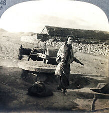 Keystone Stereoview of Grinding Grain at a Mill in CHINA from 1930's T600 Set