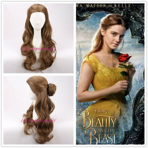 Details About 2017 New Movie Beauty And The Beast Princess Belle Long Wavy Brown Cosplay Wigs