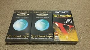 VHS-Video-Blank-Tapes-x3-Strand-E180-x2-Sony-E180-x1-C1