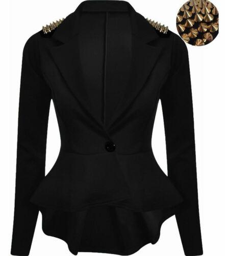 Women Long Sleeve Gold Studded Peplum Frill Blazer Ladies 1 Button Spike Jacket