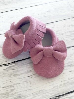 Genuine Leather Suede Moccasins Moccs Baby Infant Toddler Shoes Pink Mauve