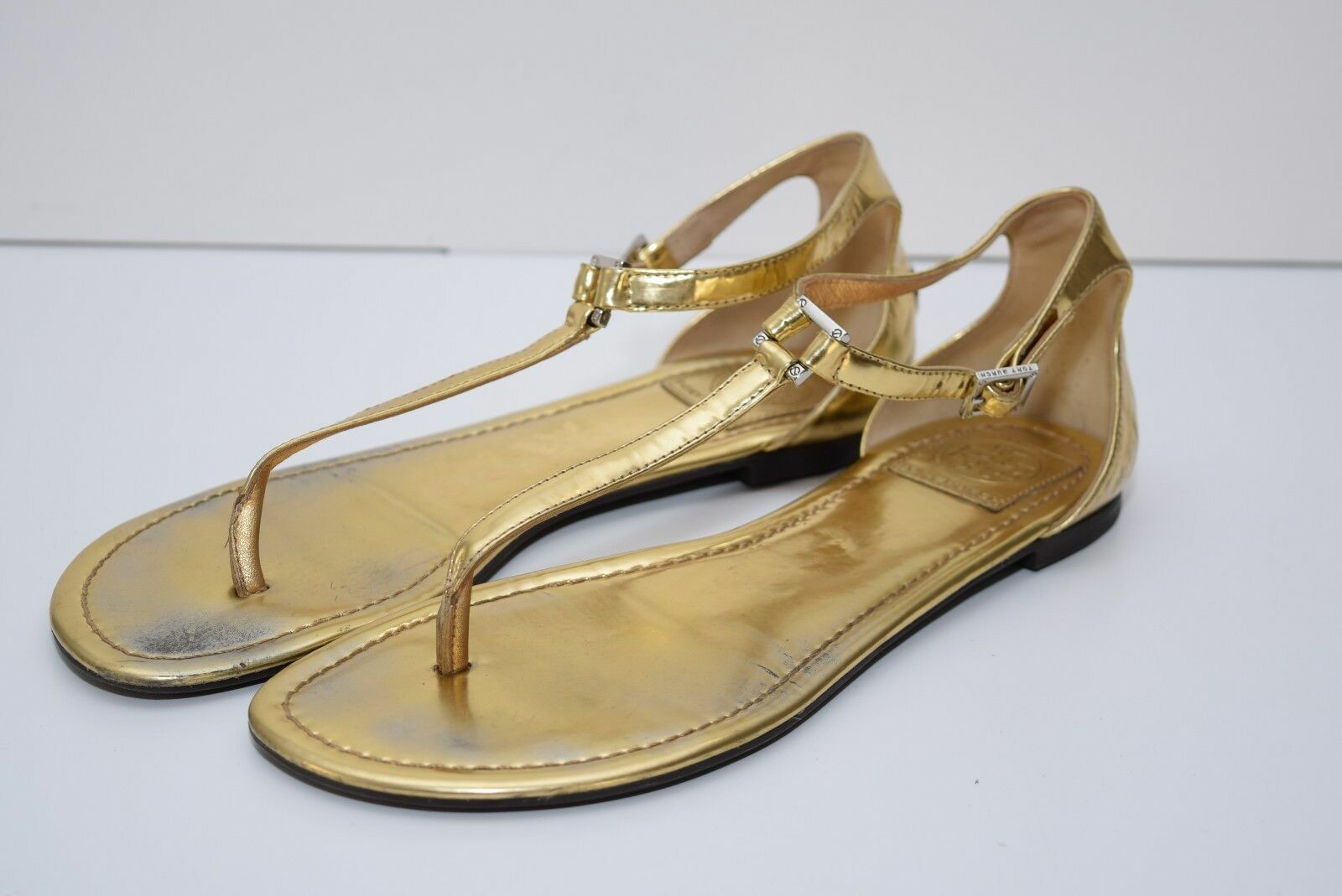 TORY BURCH Donna Gold Adjustable Ankle Strap Pelle Thong Sandals sz 10M