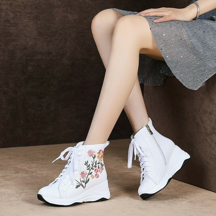 6a14af1911a Womens Round Toe Lace Up Flower Embroidery Wedge Wedge Wedge Heel ...