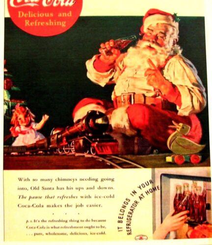 """1950/'s  Drink Coca Cola  Santa  Clause Color Poster  11/""""X17/"""" N0 # 007"""