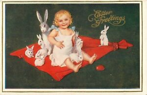 c1910-Easter-Greetings-Little-Girl-with-a-Gaggle-of-Bunny-Rabbits-Postcard