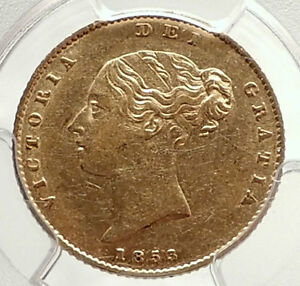 1853-GREAT-BRITAIN-United-Kingdom-Queen-VICTORIA-Gold-1-2-Sovereign-Coin-i71324