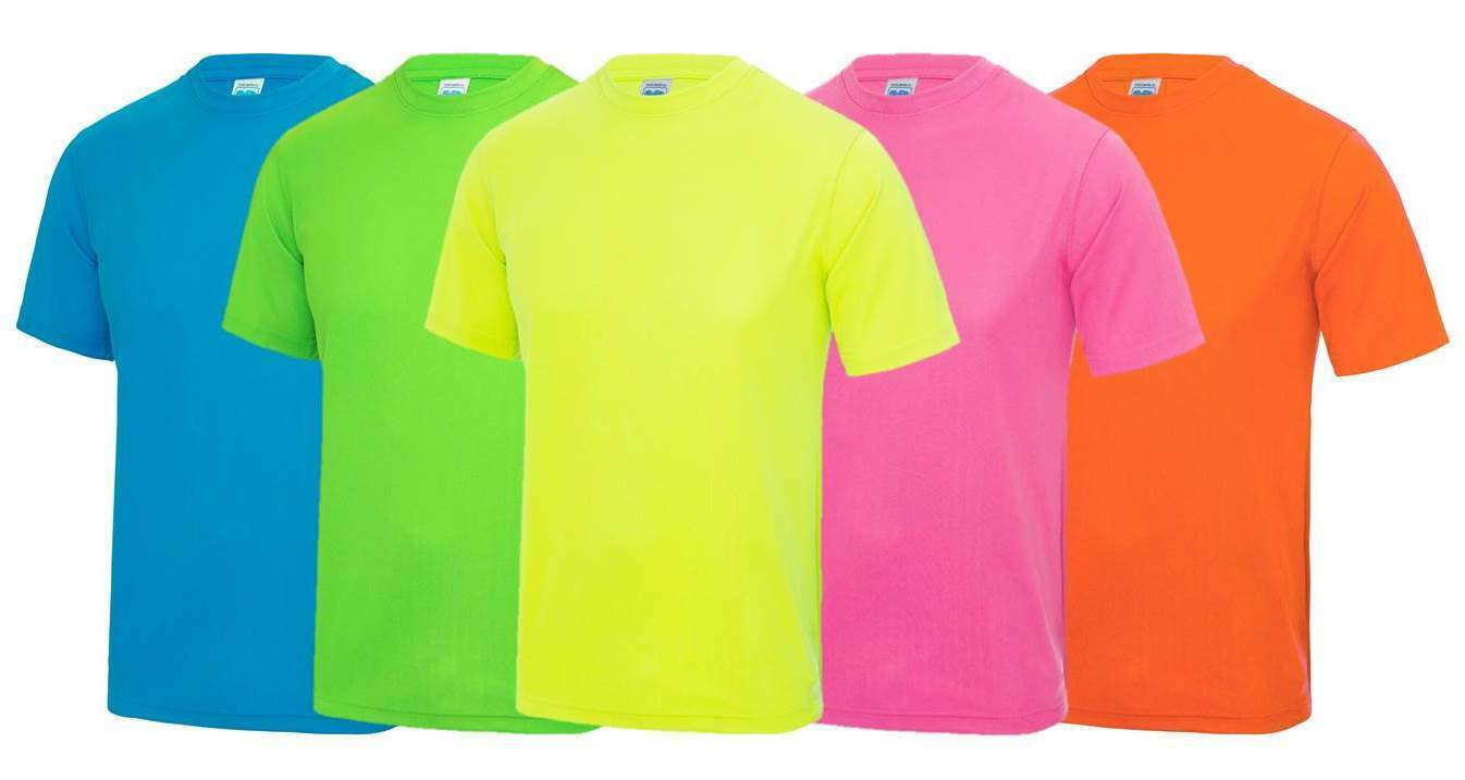 Mens Cool Sports T-Shirt S-2XL Workout Gym Exercise Fitness Neon Fluorescent Top