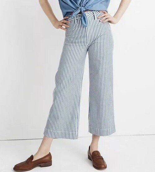 NWT Madewell Emmett Wide-Leg Crop Pants Herringbone Railroad Stripe Sz27 K9881