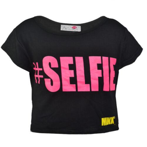 Bambine Selfie Maniche Corte Crop Top Shirt età 7-13 anni