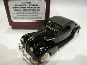 1/43 Brooklin Bc 11x Coupé convertible Buick Century M-66c 1939 Black Ltd Ed