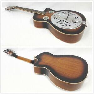 Haze All Mahogany Resonator/Dobro Guitar w/OO Holes,Cutaway+Free Gig Gag SDG-738