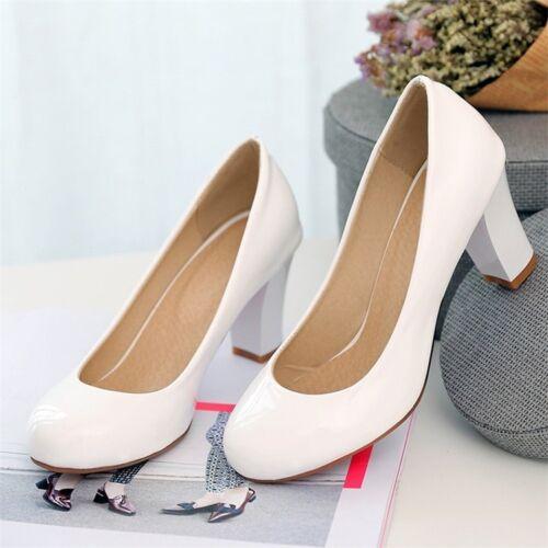 Women Elegant Patent Leather Mid Block Heels Pumps OL Round Toe Slip On Shoes Sz
