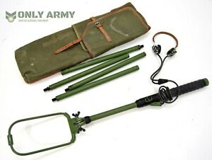 RARE-Polish-Army-Metal-Mine-Detector-Set-With-Canvas-Leather-Pouch-Detecting