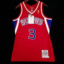 100% Authentic Mitchell & Ness Allen Iverson Sixers Red NBA Jersey Size 40 M