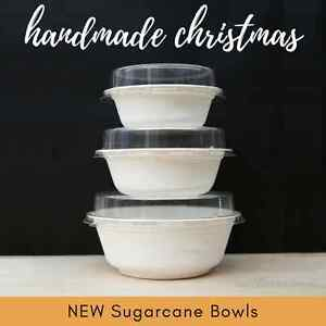 10-EACH-SIZE-30pc-SUGARCANE-BOWLS-biodegradable-compostable-CLEAR-PET-LIDS