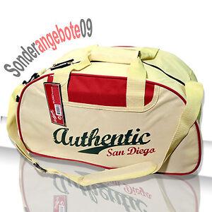 SPORTTASCHE Aufschrift Authentic San Diego Tasche beige bordeaux weiß Reisetasch