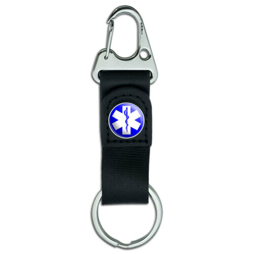 Star of Life EMT RN MD Belt Clip On Carabiner Leather Keychain Fabric Key Ring