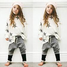 2Pcs Kid Long Sleeve Baby Boys Girls StarT-shirt Tops+Pants Outfits Clothes 120