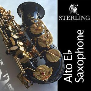 Black-Alto-Sax-Brand-New-STERLING-Eb-Saxophone-Case-and-Accessories