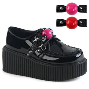 DEMONIA-Creeper-222-Ball-Gag-Studs-Oxfords-Goth-Alternative-Platform-Flats-Heels