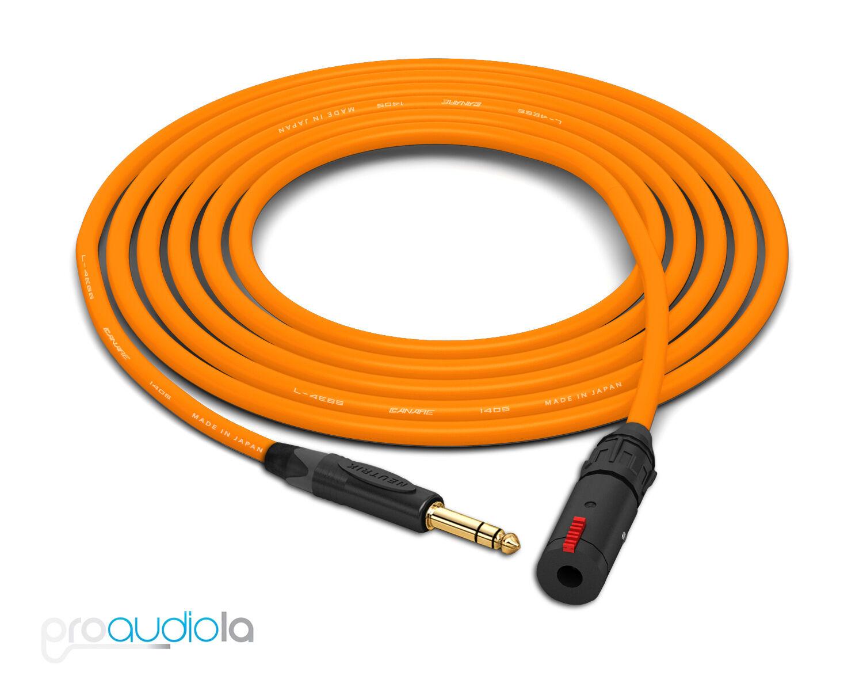 Canare Quad L-4E6S Headphone Extension Cable   Neutrik Gold TRS   Orange 50 Feet
