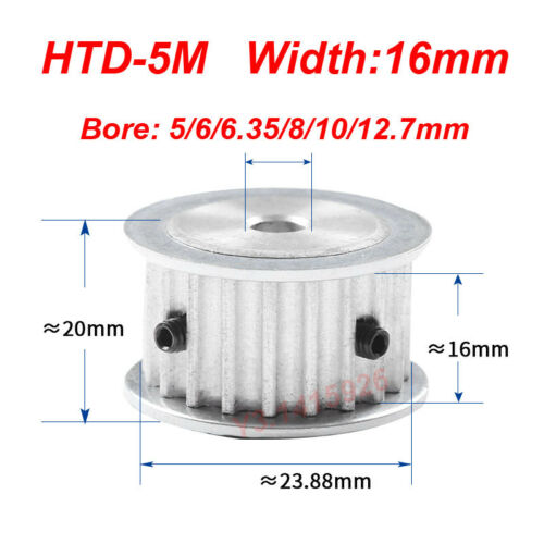 HTD 5M-15T-16W 5//6//6.35//8//10//12.7mm Bore Pitch-5mm 15T Timing Belt Drive Pulley