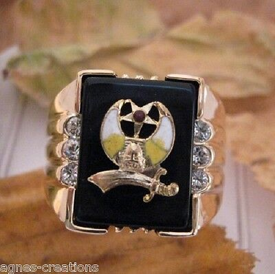 """AGNES CREATIONS BAGUE CHEVALIERE   /""""ISLAM/""""  PL//OR ONYX /& ZIRCONIUM TAILLE 70"""