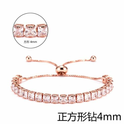 CZ Crystal Silver Rose Gold Slider Bracelet Adjustable Bangle Women Card Jewelry