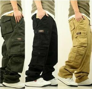 New Fashion Mens Hip Hop Dance Trousers Casual Cargo Pants SZ 32 ...