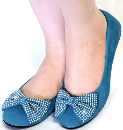 New women/'s shoes ballet flat balleraina suede bow rhinestones teal blue